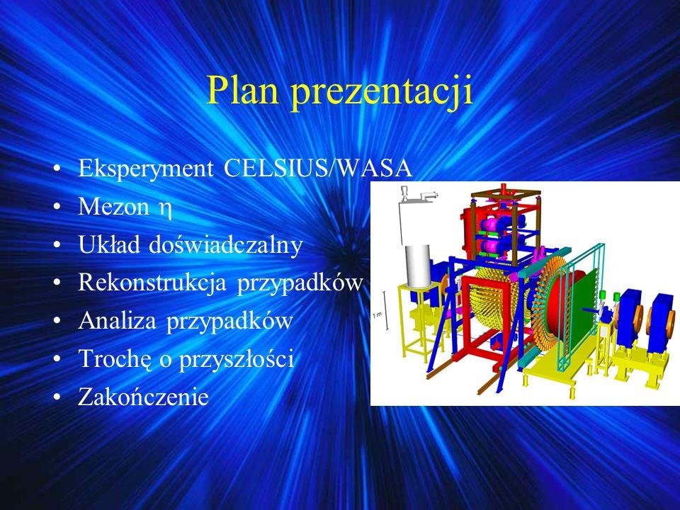 Plan prezentacji Eksperyment CELSIUS/WASA Mezon  Układ doświadczalny