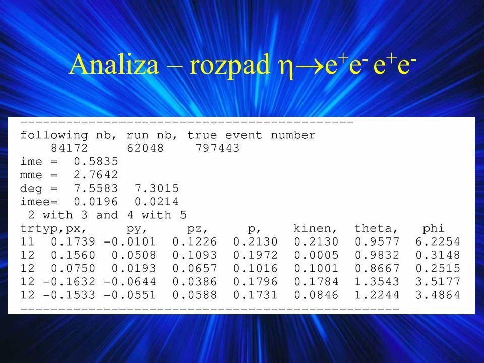 Analiza – rozpad e+e- e+e-