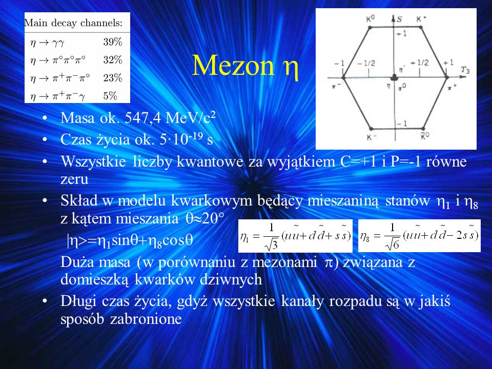 Mezon  Masa ok. 547,4 MeV/c2 Czas życia ok. 5·10-19 s