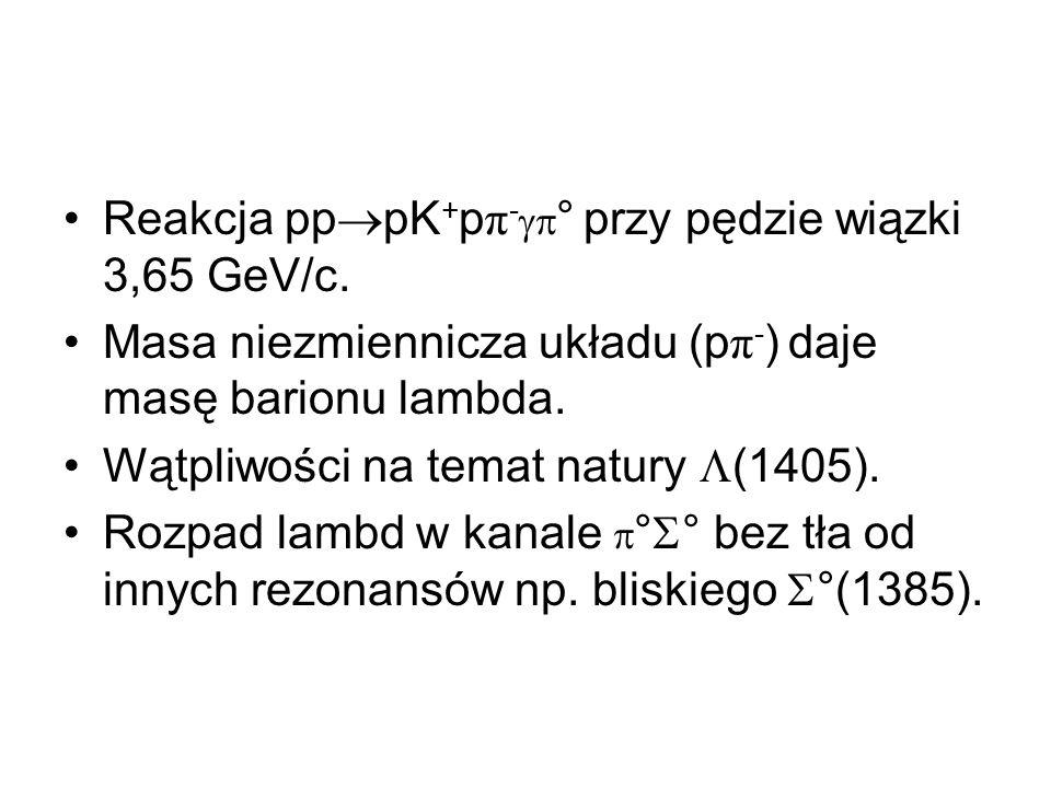 Reakcja pppK+pπ-° przy pędzie wiązki 3,65 GeV/c.