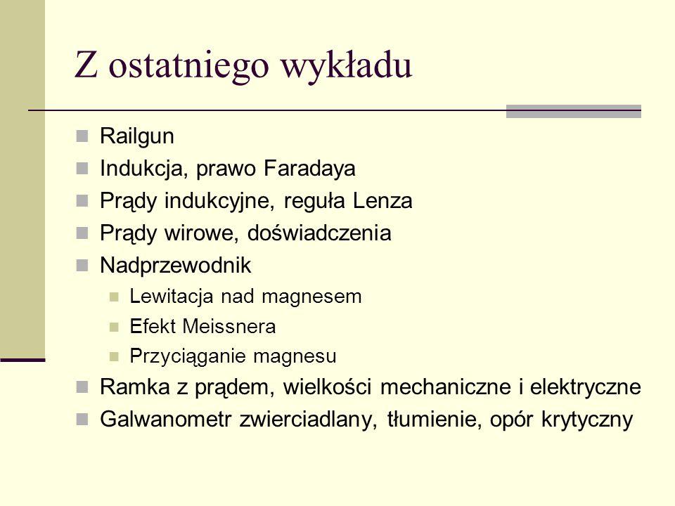 Z ostatniego wykładu Railgun Indukcja, prawo Faradaya