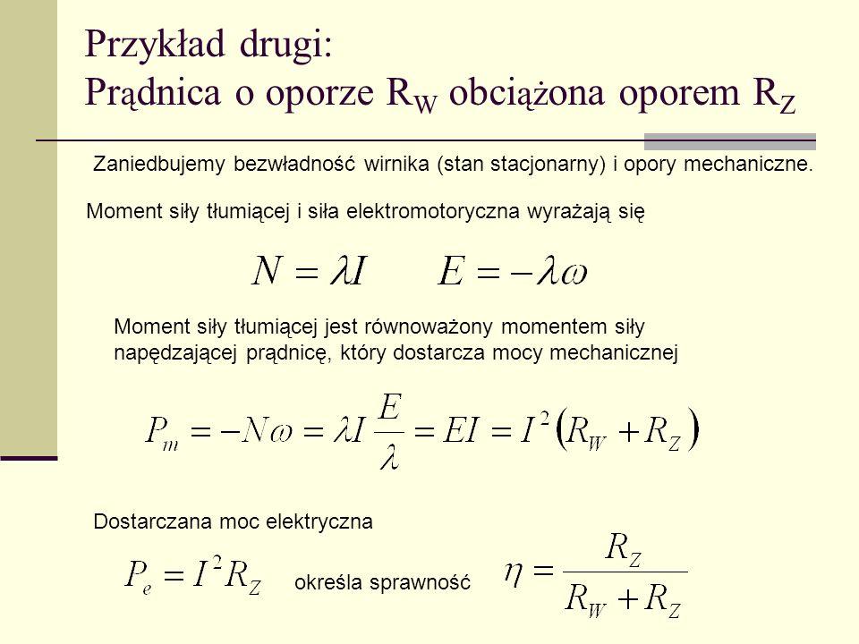 Przykład drugi: Prądnica o oporze RW obciążona oporem RZ