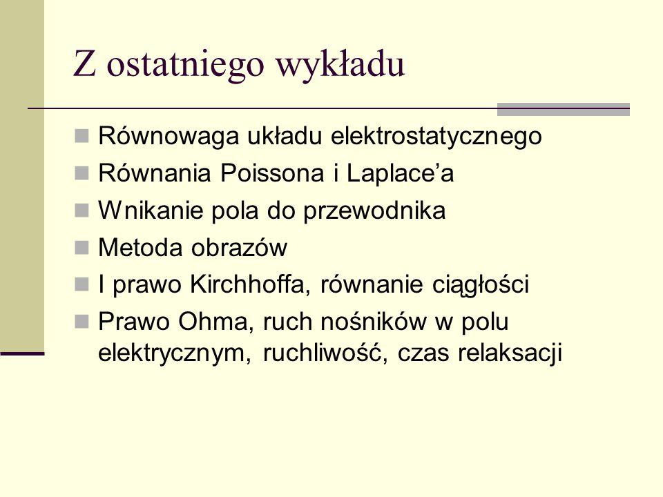 Z ostatniego wykładu Równowaga układu elektrostatycznego