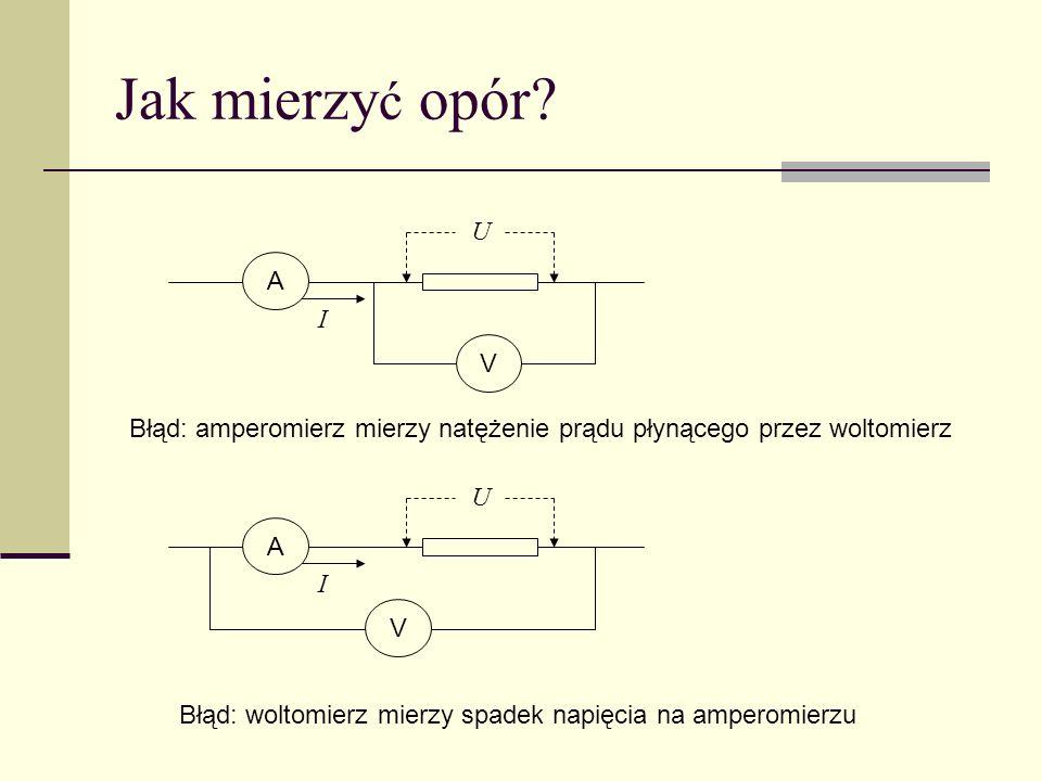 Jak mierzyć opór U. A. I. V. Błąd: amperomierz mierzy natężenie prądu płynącego przez woltomierz.