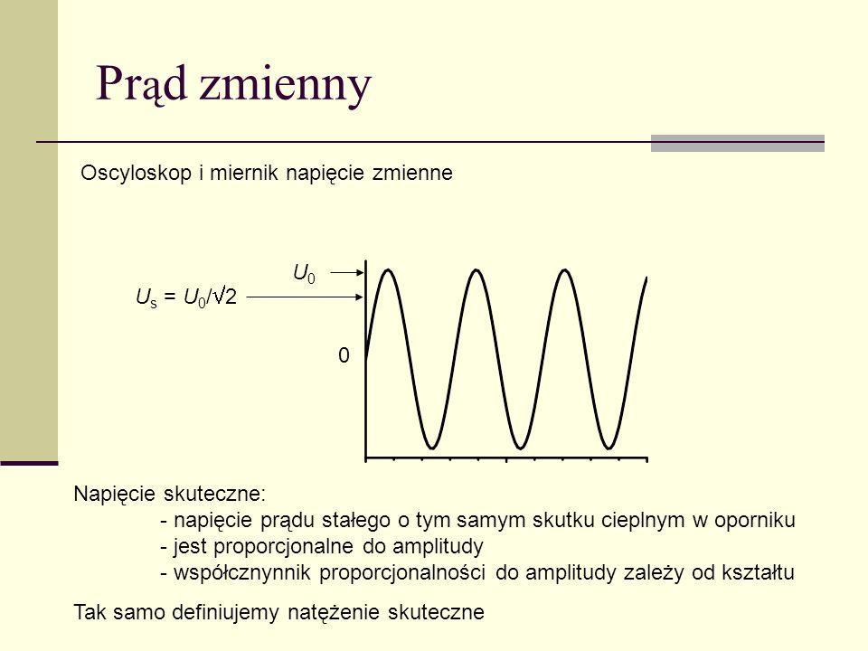 Prąd zmienny Oscyloskop i miernik napięcie zmienne U0 Us = U0/2