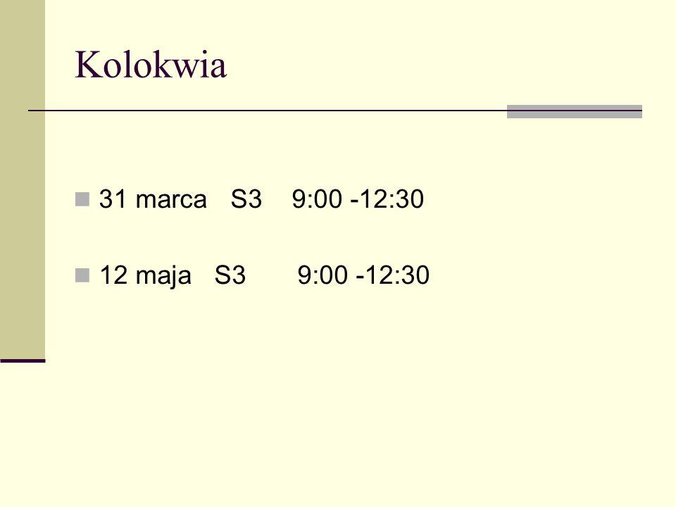 Kolokwia 31 marca S3 9:00 -12:30 12 maja S3 9:00 -12:30