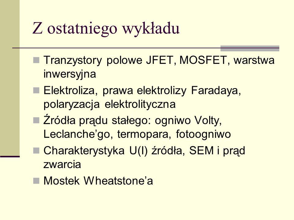 Z ostatniego wykładu Tranzystory polowe JFET, MOSFET, warstwa inwersyjna. Elektroliza, prawa elektrolizy Faradaya, polaryzacja elektrolityczna.