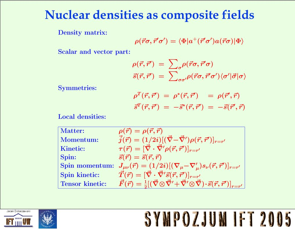 Nuclear densities as composite fields