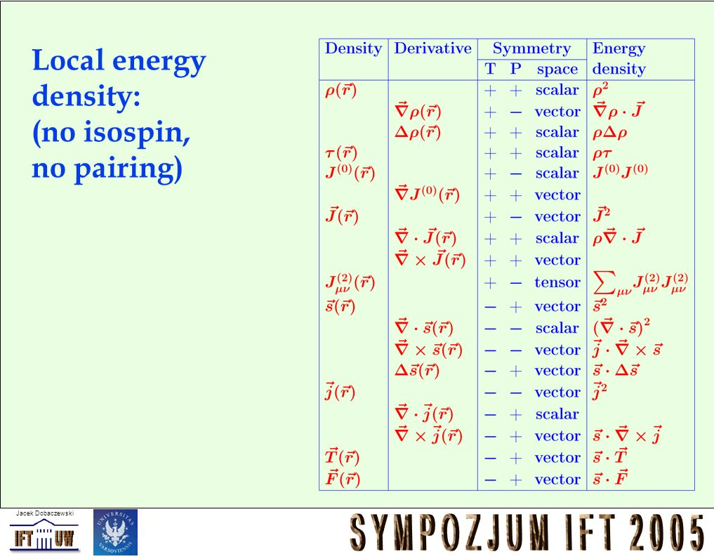 Local energy density: (no isospin, no pairing)