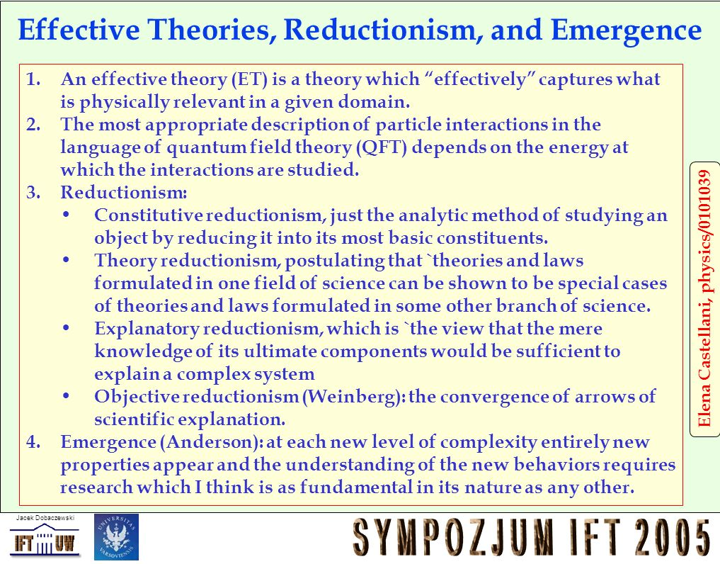 Effective Theories, Reductionism, and Emergence