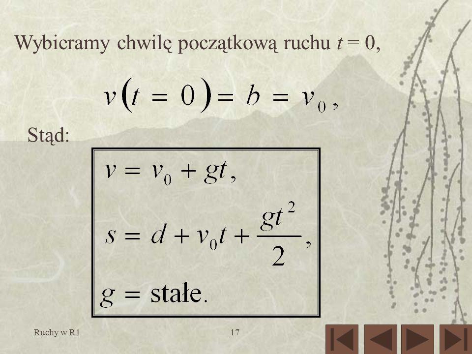 Wybieramy chwilę początkową ruchu t = 0,