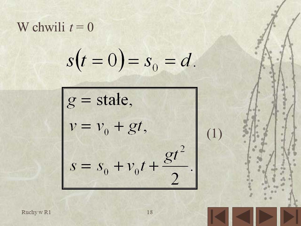 (1) W chwili t = 0 Ruchy w R1