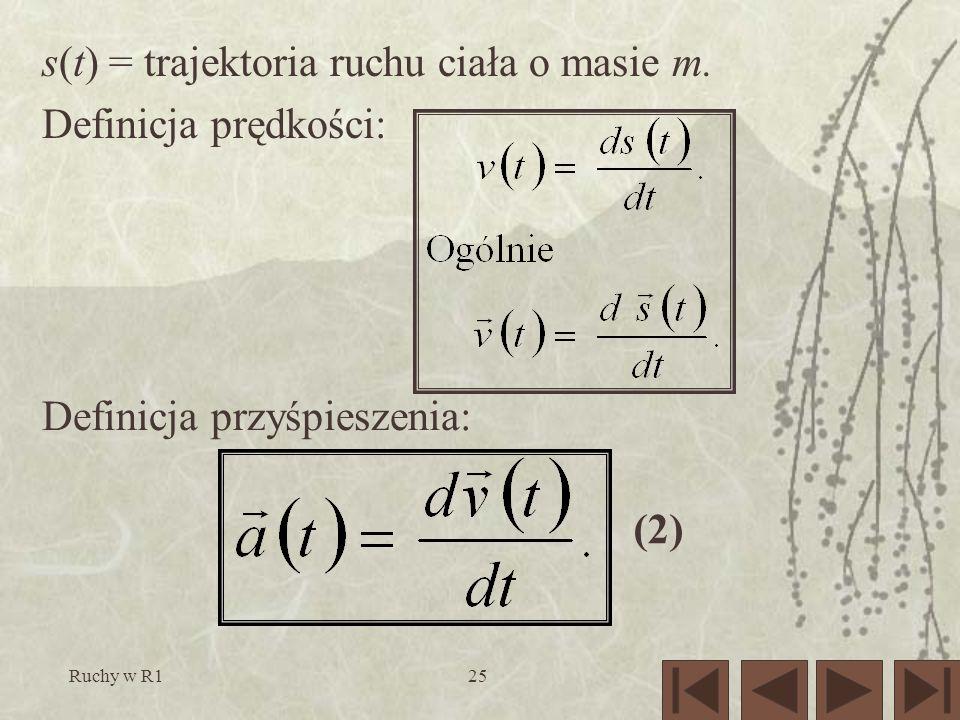 s(t) = trajektoria ruchu ciała o masie m. Definicja prędkości: