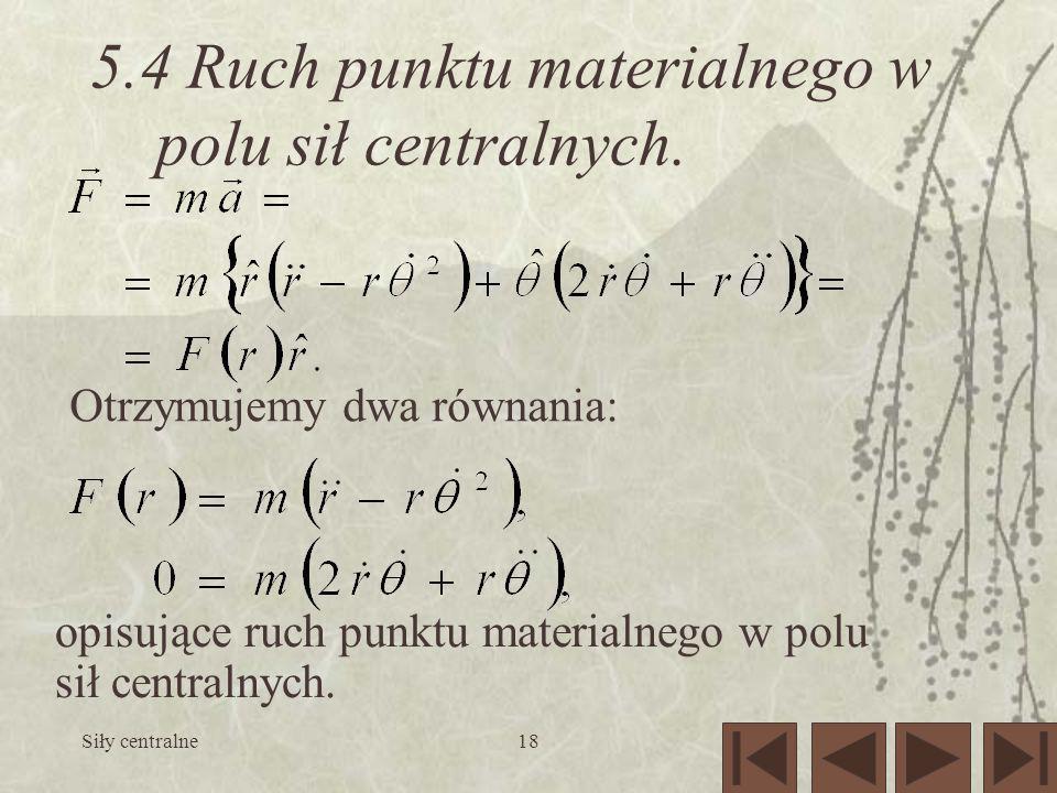 5.4 Ruch punktu materialnego w polu sił centralnych.