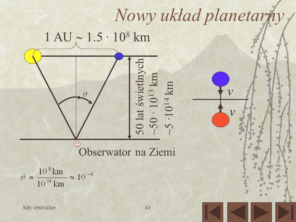 Nowy układ planetarny 1 AU  1.5 · 108 km v 50 lat świetlnych