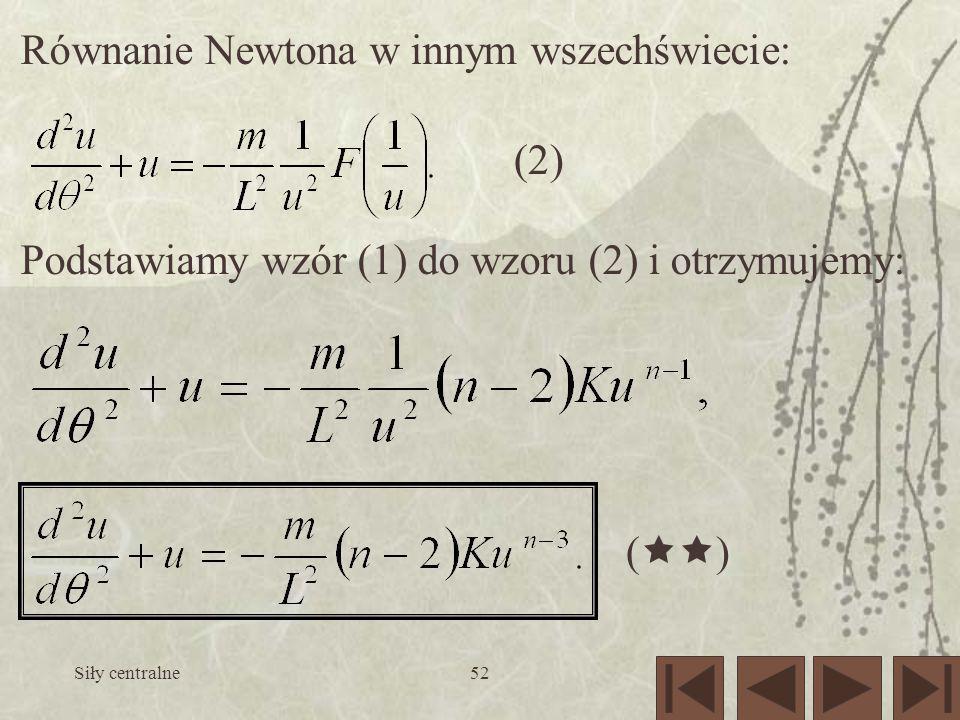 Równanie Newtona w innym wszechświecie: