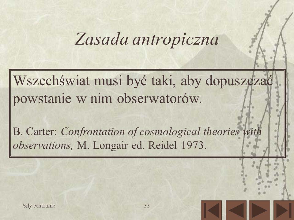 Zasada antropiczna Wszechświat musi być taki, aby dopuszczać powstanie w nim obserwatorów.