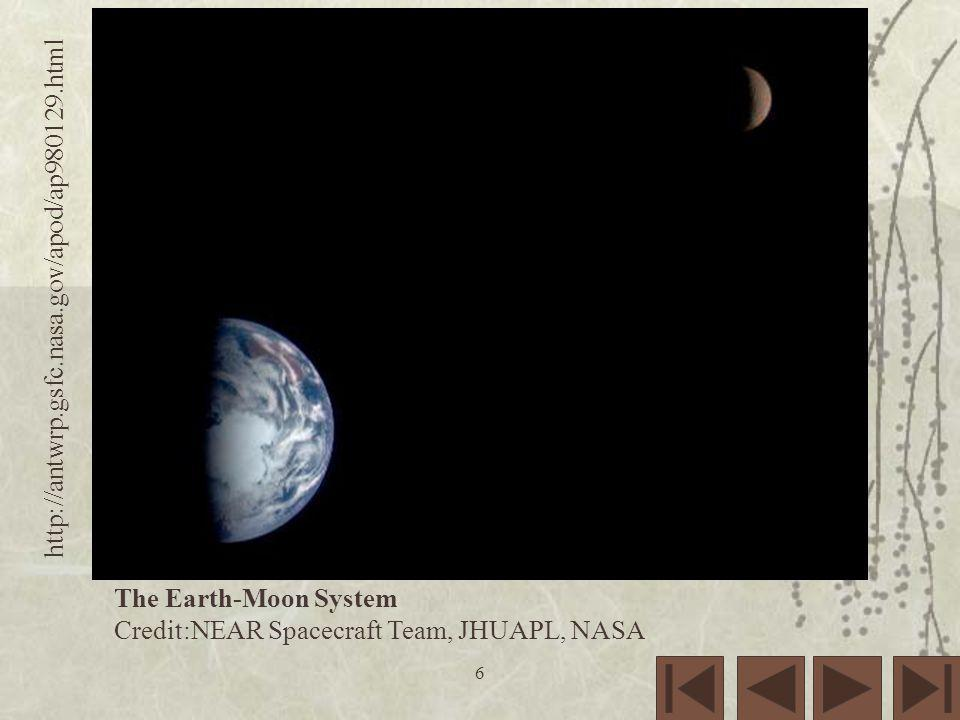 The Earth-Moon System Credit:NEAR Spacecraft Team, JHUAPL, NASA