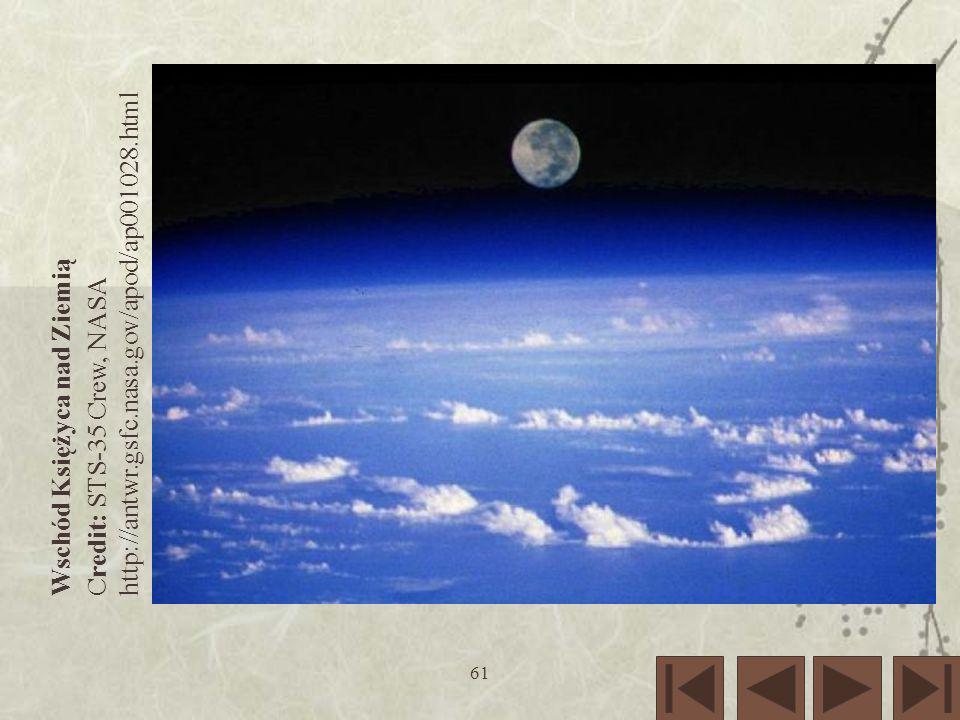 http://antwr.gsfc.nasa.gov/apod/ap001028.html Wschód Księżyca nad Ziemią Credit: STS-35 Crew, NASA