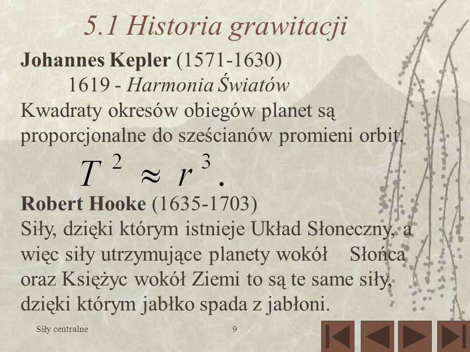 5.1 Historia grawitacji Johannes Kepler (1571-1630)