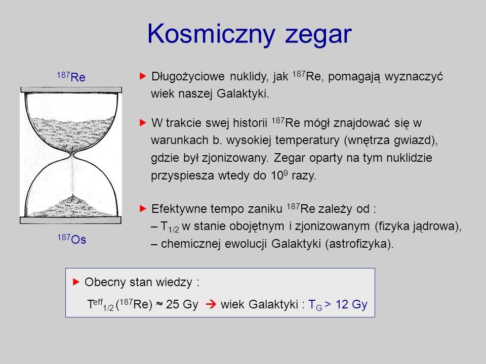 Kosmiczny zegar187Re. 187Os.  Długożyciowe nuklidy, jak 187Re, pomagają wyznaczyć wiek naszej Galaktyki.