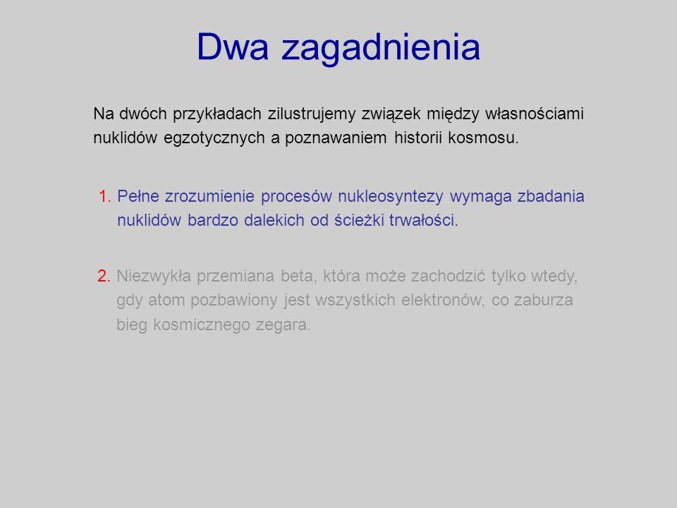 Dwa zagadnienia Na dwóch przykładach zilustrujemy związek między własnościami nuklidów egzotycznych a poznawaniem historii kosmosu.