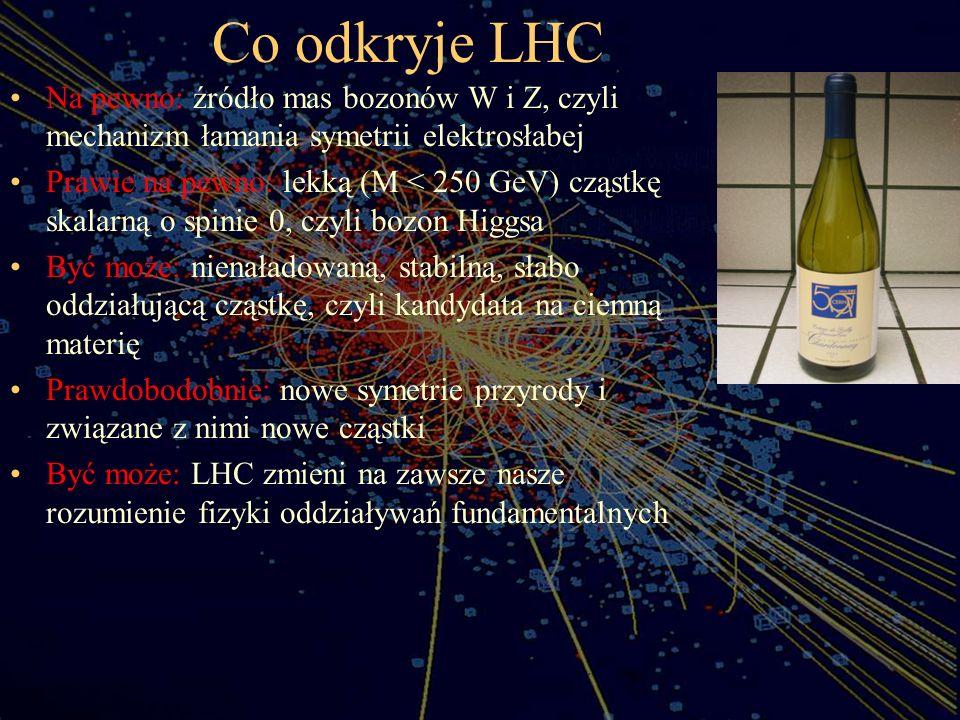 Co odkryje LHC Na pewno: źródło mas bozonów W i Z, czyli mechanizm łamania symetrii elektrosłabej.