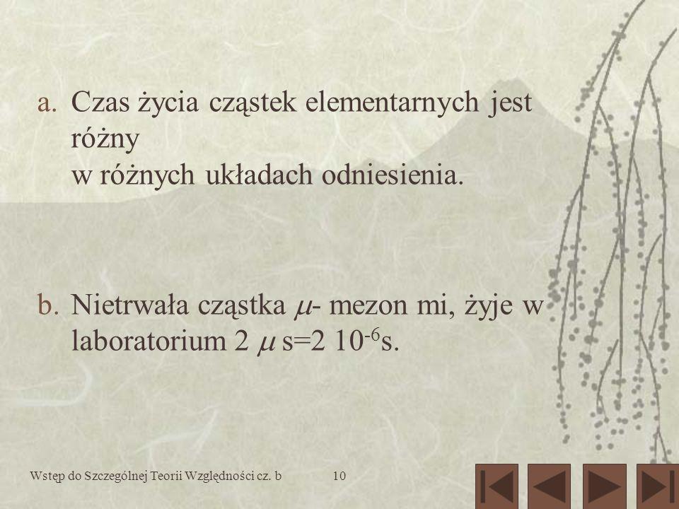 Nietrwała cząstka - mezon mi, żyje w laboratorium 2  s=2 10-6s.