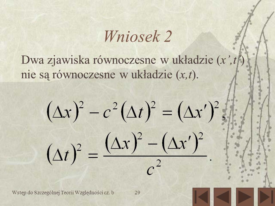 Wniosek 2 Dwa zjawiska równoczesne w układzie (x',t') nie są równoczesne w układzie (x,t).