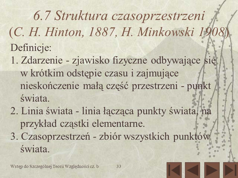 6.7 Struktura czasoprzestrzeni (C. H. Hinton, 1887, H. Minkowski 1908)