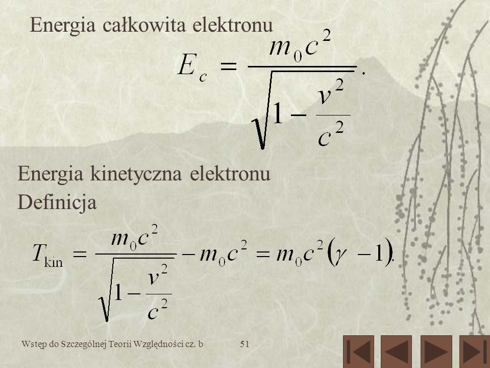 Energia całkowita elektronu