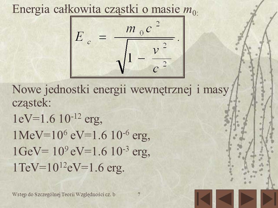 Energia całkowita cząstki o masie m0: