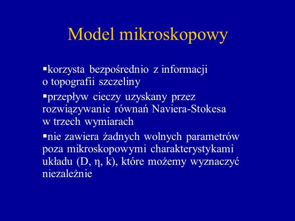 Model mikroskopowy korzysta bezpośrednio z informacji o topografii szczeliny.