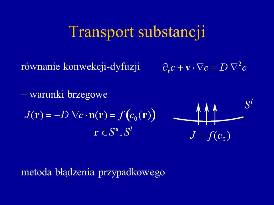 Transport substancji równanie konwekcji-dyfuzji + warunki brzegowe