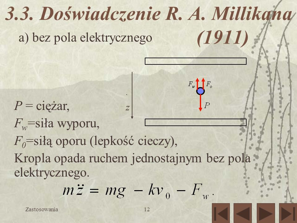 3.3. Doświadczenie R. A. Millikana (1911)