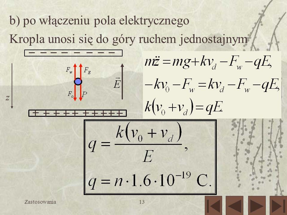 b) po włączeniu pola elektrycznego