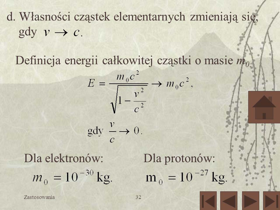d. Własności cząstek elementarnych zmieniają się, gdy