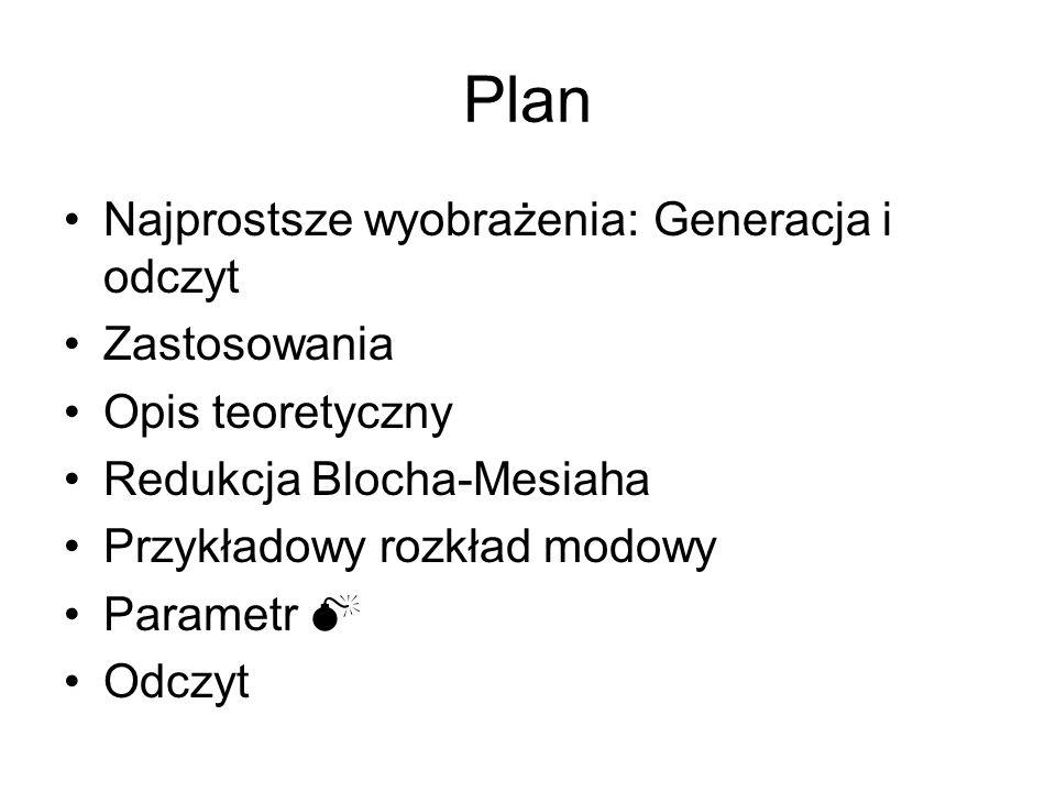 Plan Najprostsze wyobrażenia: Generacja i odczyt Zastosowania