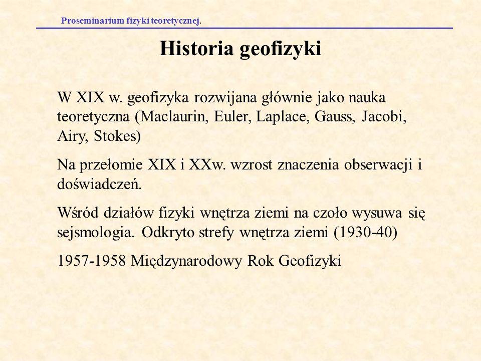 Historia geofizyki W XIX w. geofizyka rozwijana głównie jako nauka teoretyczna (Maclaurin, Euler, Laplace, Gauss, Jacobi, Airy, Stokes)