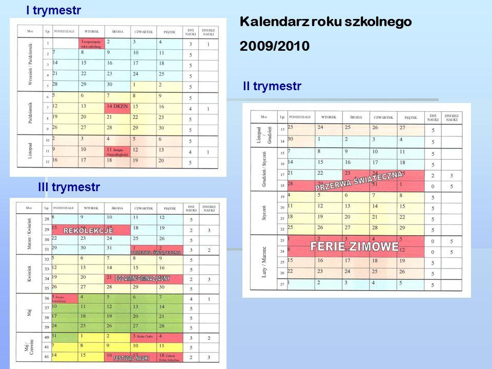 Kalendarz roku szkolnego 2009/2010