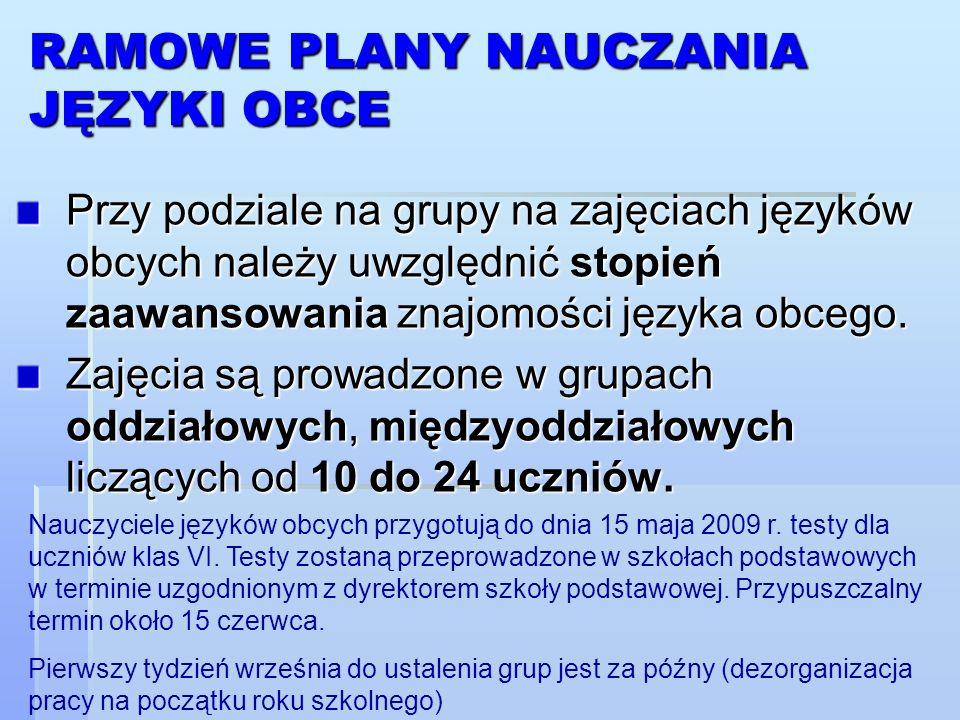 RAMOWE PLANY NAUCZANIA JĘZYKI OBCE