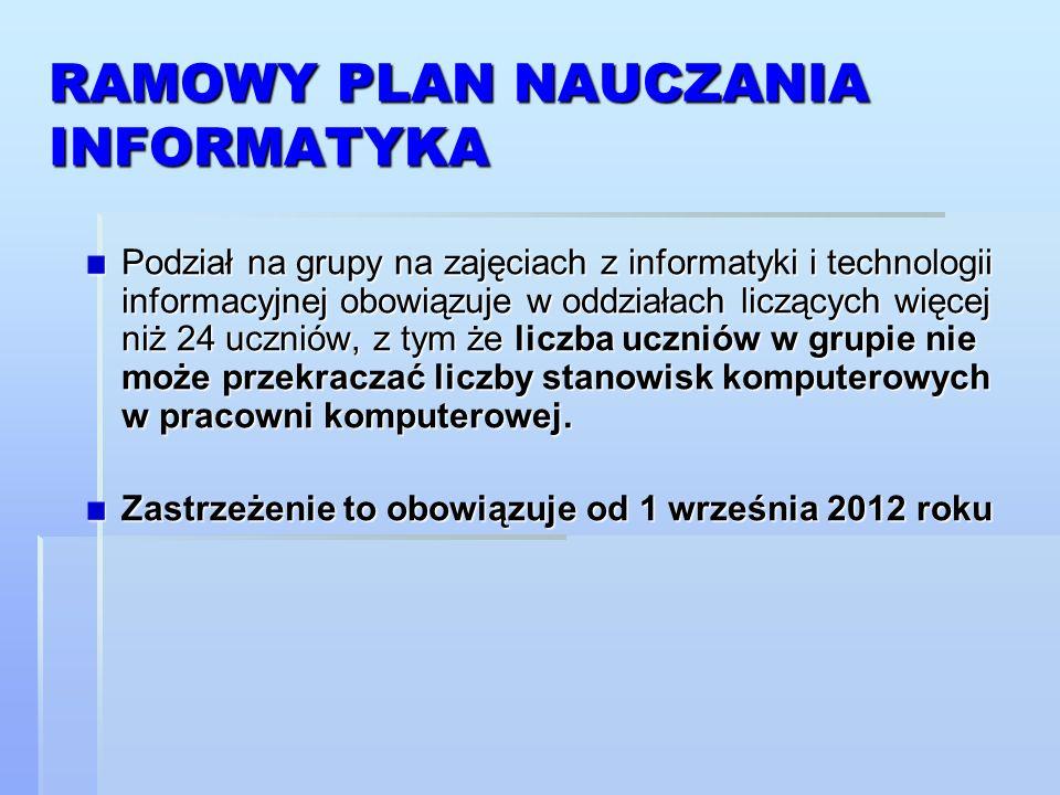 RAMOWY PLAN NAUCZANIA INFORMATYKA