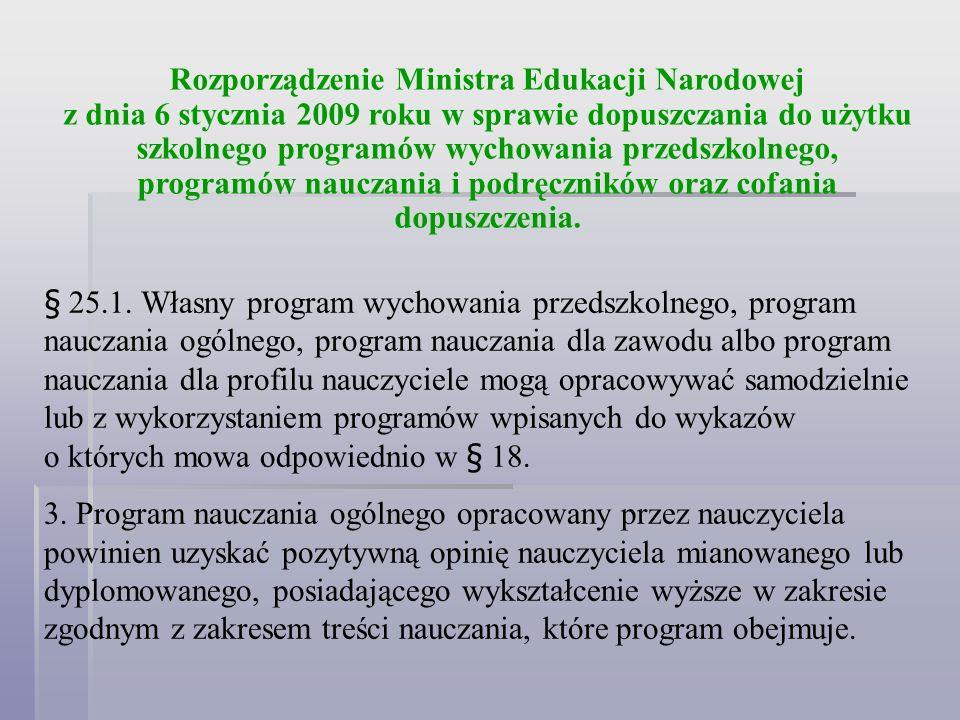 Rozporządzenie Ministra Edukacji Narodowej z dnia 6 stycznia 2009 roku w sprawie dopuszczania do użytku szkolnego programów wychowania przedszkolnego, programów nauczania i podręczników oraz cofania dopuszczenia.