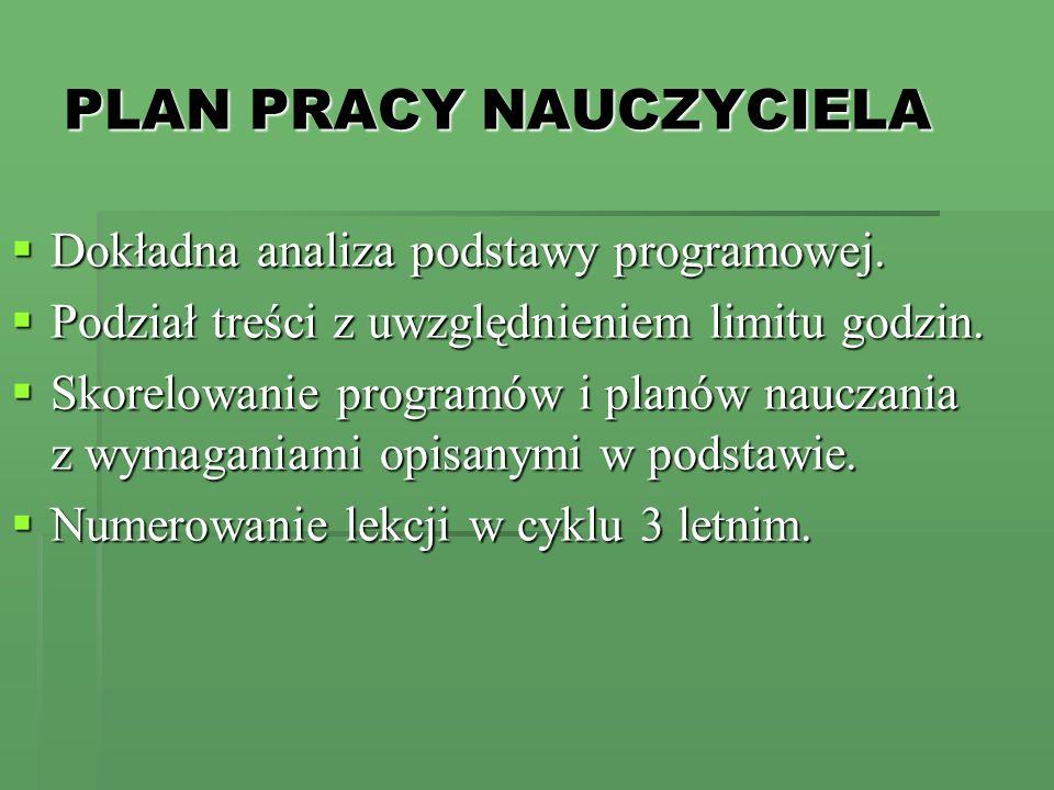PLAN PRACY NAUCZYCIELA