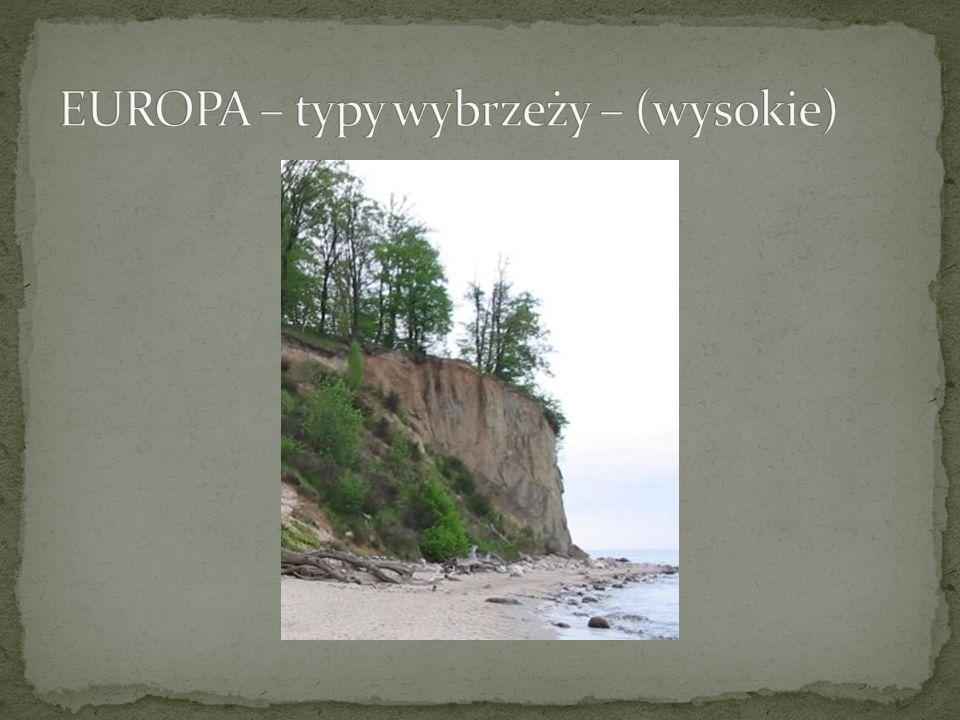EUROPA – typy wybrzeży – (wysokie)