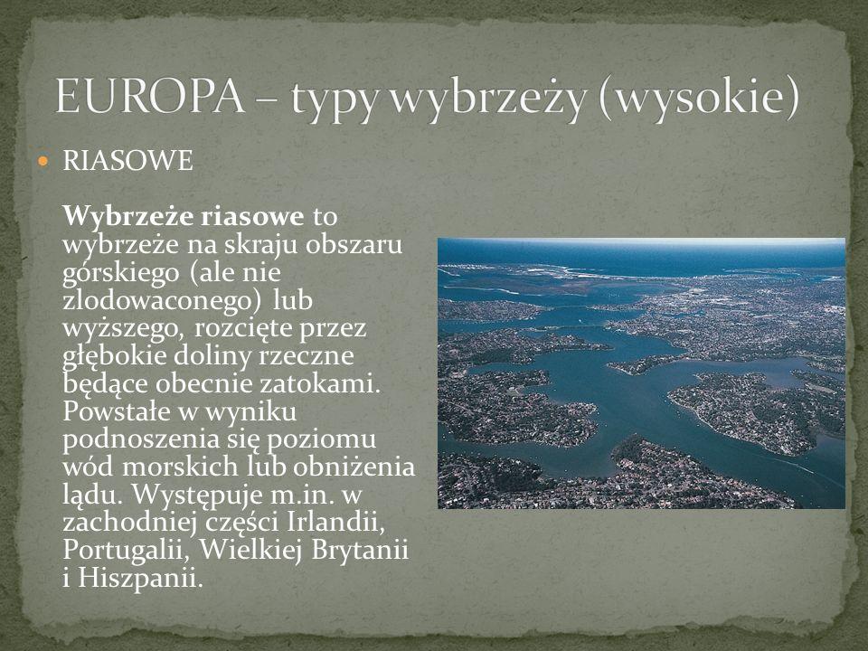 EUROPA – typy wybrzeży (wysokie)