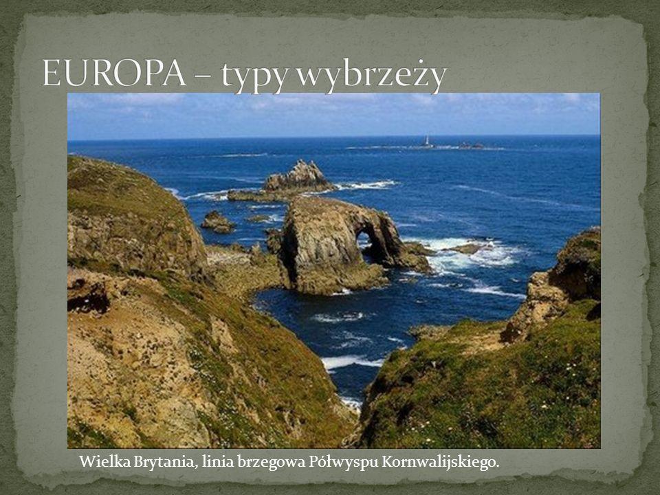 EUROPA – typy wybrzeży Wielka Brytania, linia brzegowa Półwyspu Kornwalijskiego.