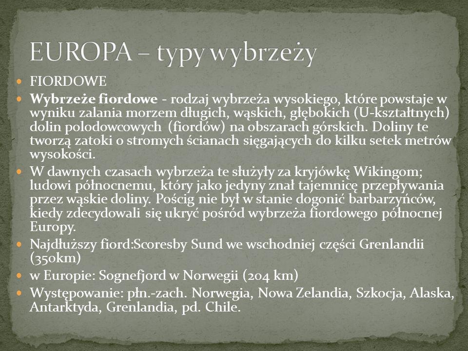EUROPA – typy wybrzeży FIORDOWE