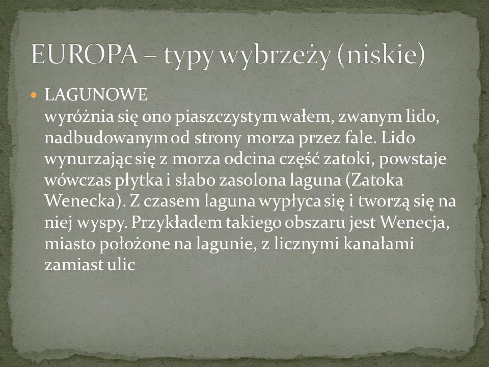 EUROPA – typy wybrzeży (niskie)