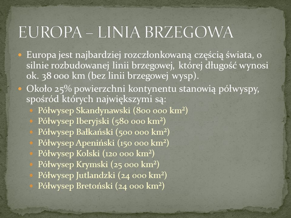 EUROPA – LINIA BRZEGOWA